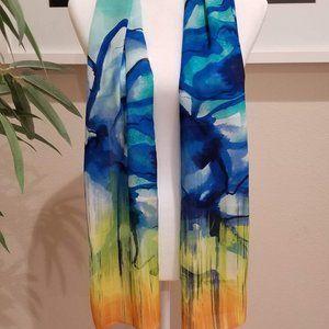 CYNTHIA ROWLEY | Yellow & Blue Watercolor Scarf